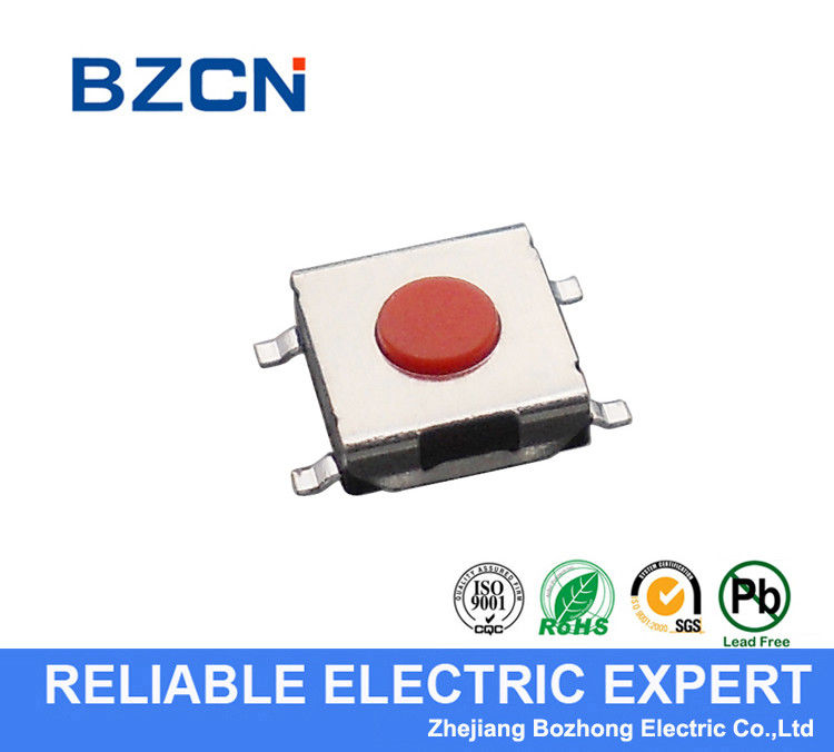 Red Button SMD Tactile Push Button Switch M Terminal 6.2 X 6.2 Mm With Long Life