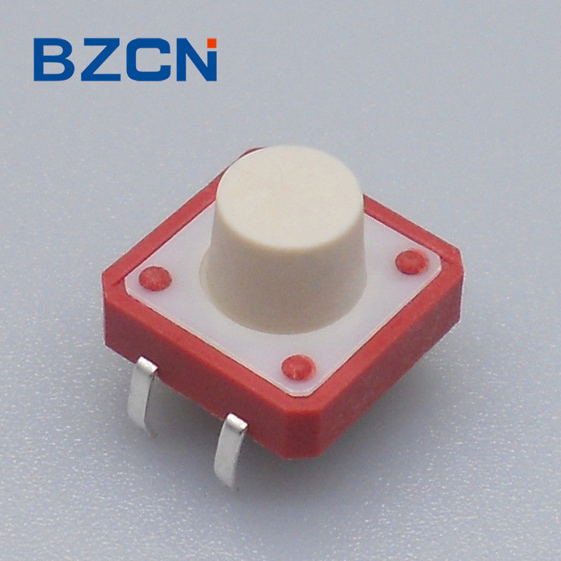 12 Mm X 12mm Tactile Switch Thru Hole Red House 0.5mA Current Rate With Black Button