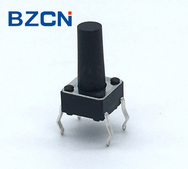 Low Noise 6mm Tactile Switch Through Hole Terminal Vertical Push Black Button